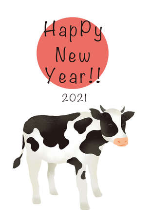 Illustration Material 2021 Year New Year's card template of the illustration of the cow Reklamní fotografie - 152828839