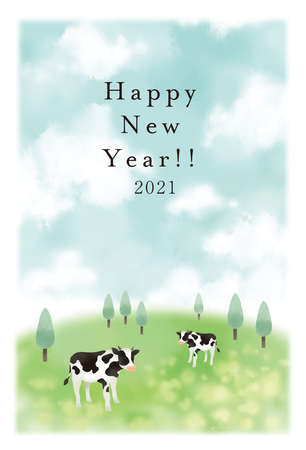 Illustration Material 2021 Year New Year's card template of the illustration of the cow