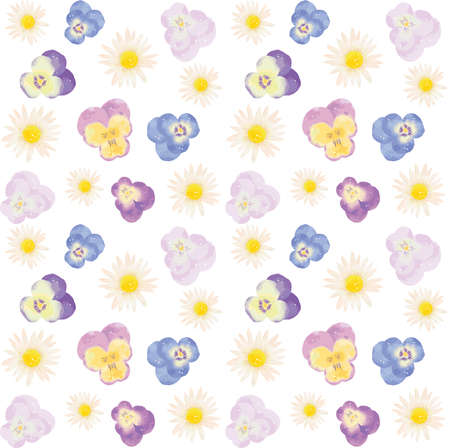 Seamless patterns of Margaret, Violet and Pansy