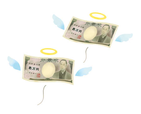 Illustration of the splurge image that 10,000 yen bill flies Reklamní fotografie - 153158421