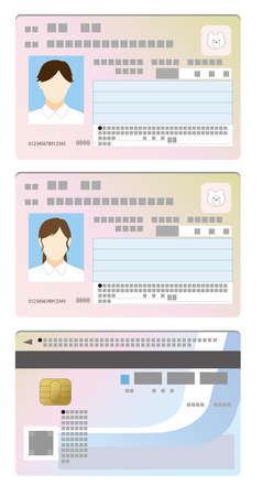 My number card double-sided illustration with image of men and women
