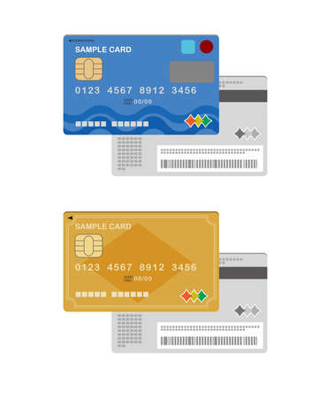 Illustration of the front and back of a credit card and a gold card Reklamní fotografie