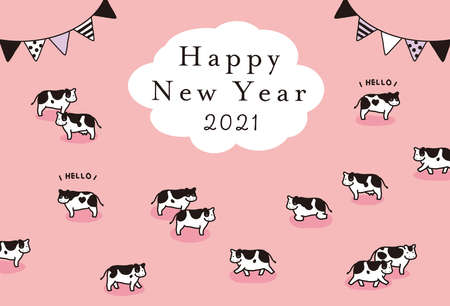 Illustration Material 2021 Year New Year's card template of the illustration of the cow Reklamní fotografie - 153852446