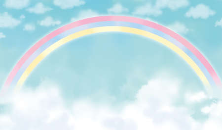 Background illustration of the sky with a rainbow