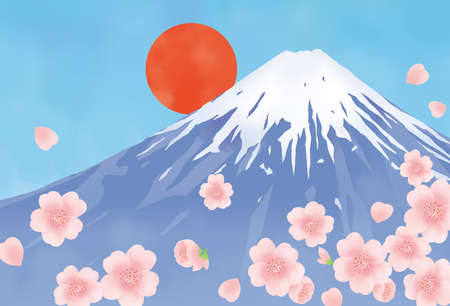 Illustrations of Mt. Fuji, Cherry Blossoms, and the Day out