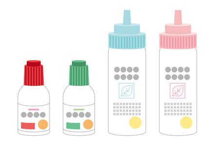 Illustration set of lotion type medicine