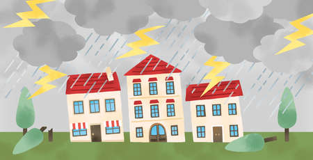 Illustration of a house damaged by a typhoon Reklamní fotografie