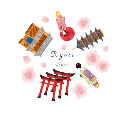 A set illustration of a town house and a temple in Kyoto with Maiko in spring