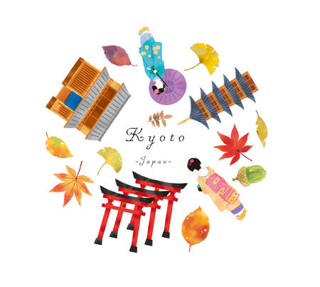 A set illustration of a town house and a temple in Kyoto with Maiko in autumn
