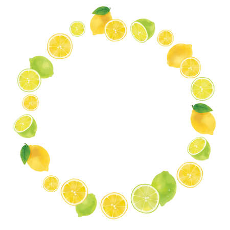 Illustration of lemon wreath with watercolor touch Illustration of lemon  Reklamní fotografie