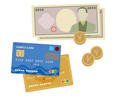 Illustrations of credit cards and cash