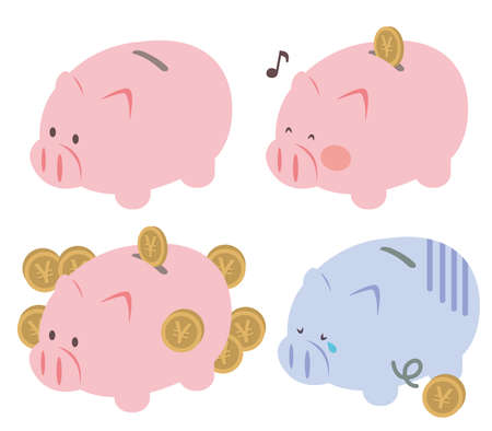 Illustrated set of money and pig piggy bank