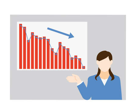 Vector Illustrations of Business Women and Descending Graphs