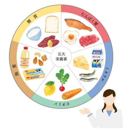 Fashionable vector illustration of nutritionist with five major nutrients Vecteurs