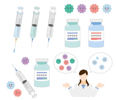 Cute illustration set of vaccines and syringes Vectores