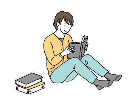 Simple Touch Young Woman Reading Book Sitting Illustration