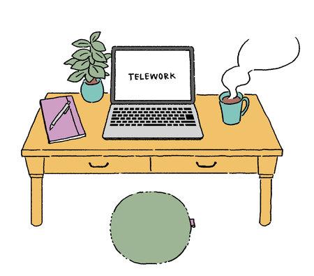 Telework on laptop, remote work illustration