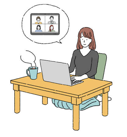 Illustration of a person working remotely on a computer