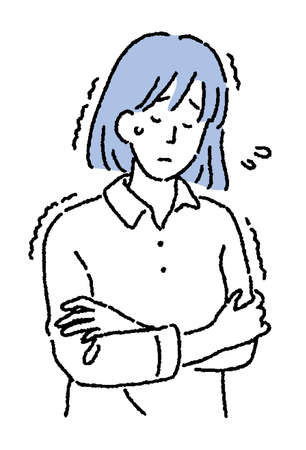 Simple touch Illustration of a woman who feels cold with a cold
