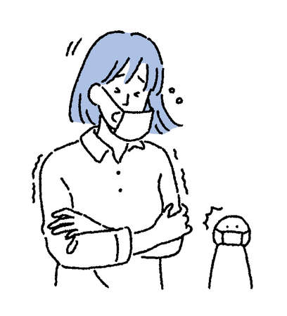 Illustration of a woman sneezing with a cold with a simple touch mask