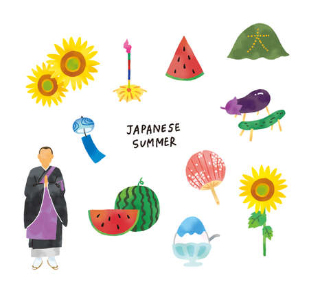 Casual Touch Summer Tradition Icon Illustration Set