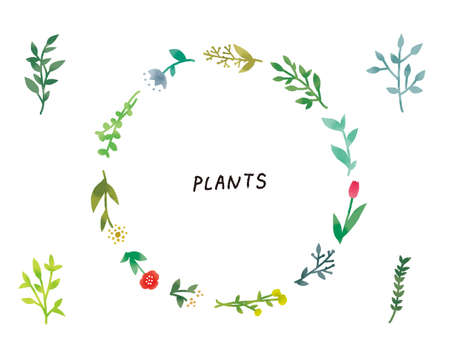 Casual Touch Simple And Natural Botanical Plant Wreath Illustration
