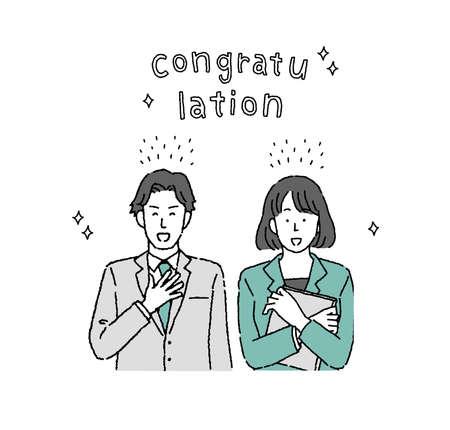 Illustration of two businessmen man and woman smiling and rejoying Vektorgrafik