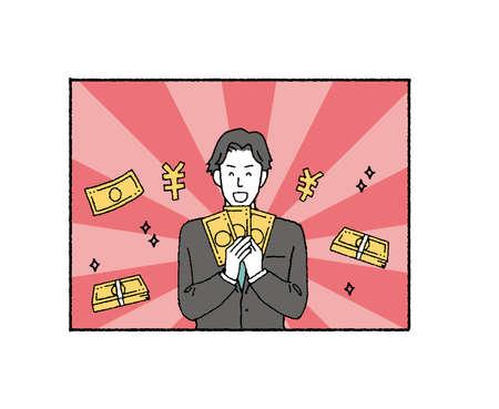 Illustration of businessman with tag with background  Vektoros illusztráció