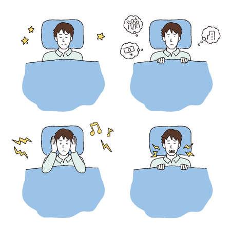 Illustration set of sleepless and sleepy men