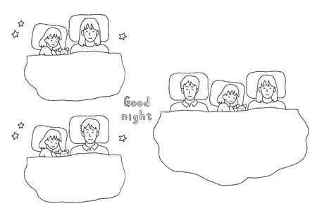 Illustration of family sleeping together