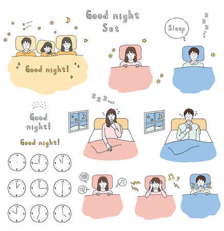 Illustration set of man and woman sleeping on futon  イラスト・ベクター素材