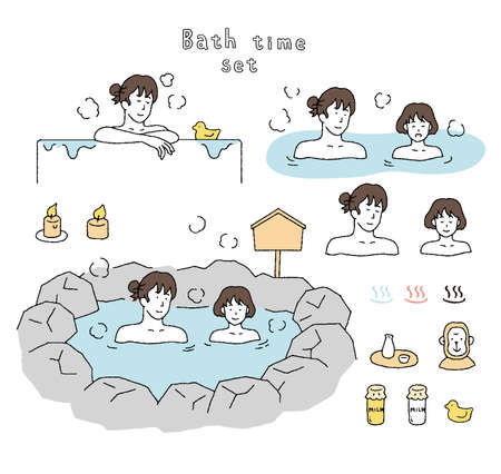 Illustration set of parents and children taking a bath on a hot spring trip  イラスト・ベクター素材