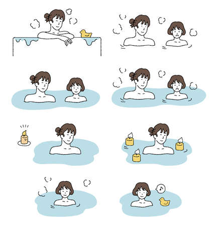 Illustration set of parents and children bathing