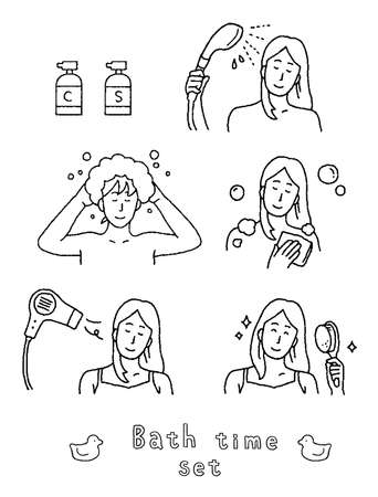 Illustration set of woman wearing shampoo and hair dryer Ilustrace