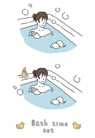 Illustration set of a woman bathing Ilustrace