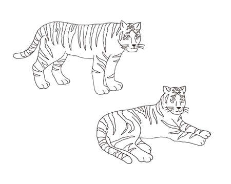 Illustration New Year's card Set of realistic and stylish tiger illustration cut Reklamní fotografie