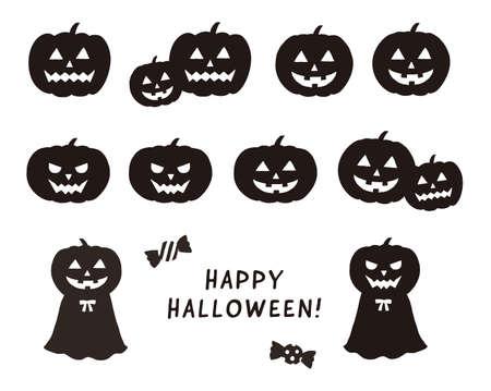 Silhouette Halloween Pumpkin Illustration Set