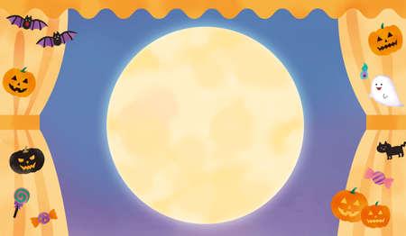 Halloween motif curtains and full moon illustration