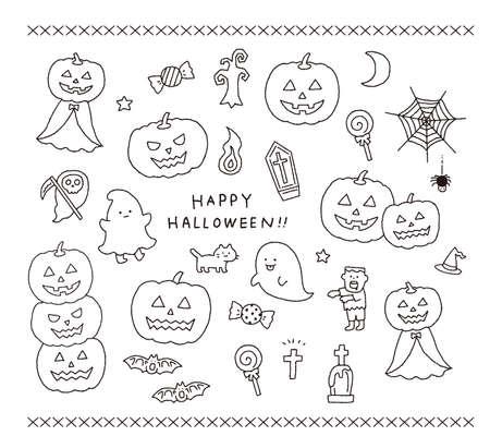 Cute illustration set with Halloween motif