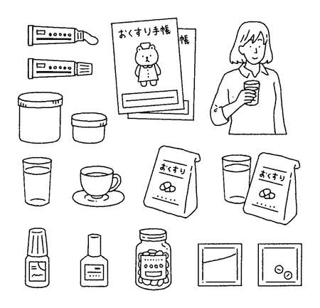 Illustration set of a woman who drinks various medicines and medicines Ilustrace