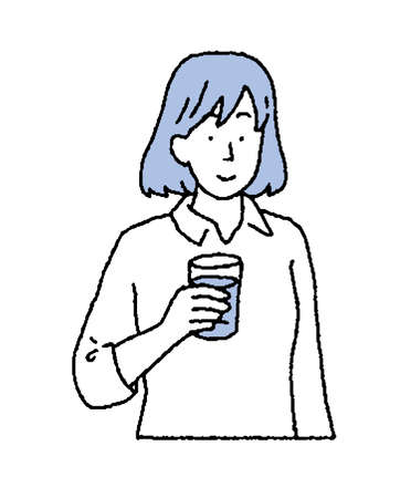 Illustration of a woman with a drink in her hand