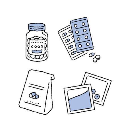 Simple touch tablet and powder illustration set Vektorové ilustrace