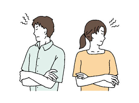 Simple Touch Illustration of a Fighting Couple