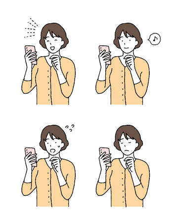 Simple touch Illustration with a woman's smartphone