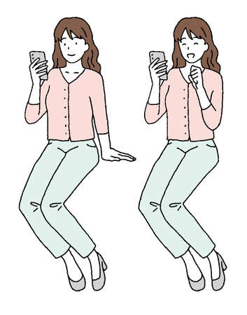 Illustration set of young woman operating simple touch smartphone