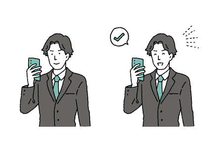 Illustration set of a man operating a simple touch smartphone