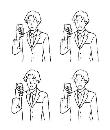 Illustration set of a young man with a simple touch smartphone