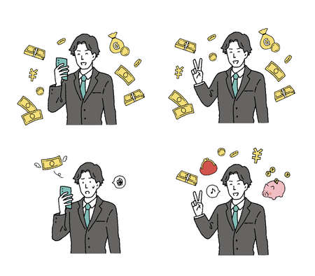A man's illustration set in a suit that will delight in money Ilustrace