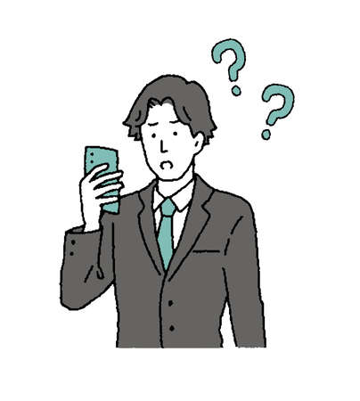 Illustration of a businessman operating a simple touch smartphone