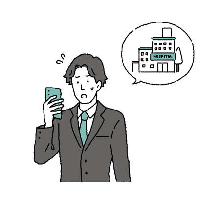 Illustration of a businessman calling a hospital with a simple touch smartphone Ilustrace